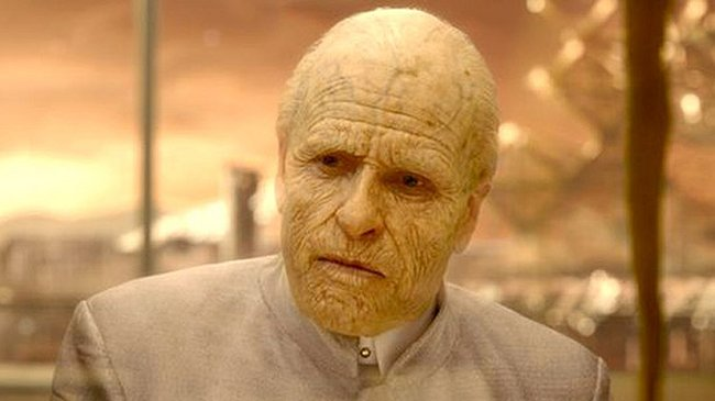 The aged Peter Weyland sponsors, then perishes during, the Prometheus mission. (20th Century Fox)